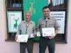 Udelenie bronzových medajlí SPZ Jánovi Kormaníkovi a Ing. Ľubošovi Šusterovi za významné zásluhy o rozvoj poľovníctva na Slovensku, júl 2021